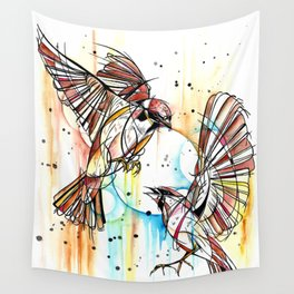 Geometric Sparrows Wall Tapestry
