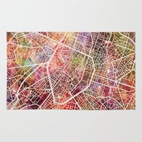 brussels Area & Throw Rugs featuring Brussels by MapMapMaps.Watercolors