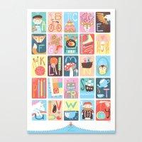 alphabet Canvas Prints featuring Alphabet by Emily Golden