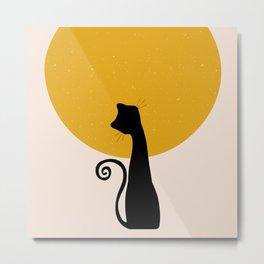 Geometric Art, Sun and Moon, Cat Art, Print, Yellow, Pink and Black Metal Print