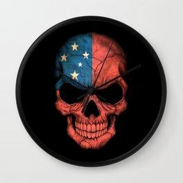 Dark Skull with Flag of Samoa Wall Clock