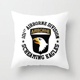 Screaming Eagles Throw Pillow