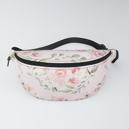 Rose Blush Watercolor Flower Pattern Fanny Pack
