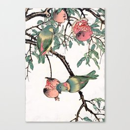 Pomegranate and Lovebirds Canvas Print
