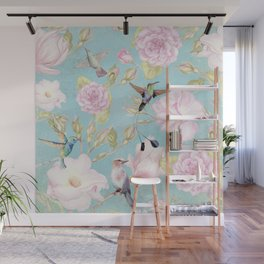 Pastel Teal Vintage Roses and Hummingbird Pattern Wall Mural