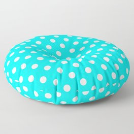 Small Polka Dots - White on Aqua Cyan Floor Pillow