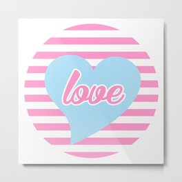 Love With Heart, Typography, Blue Heart and Pink Stripes, Sticker Metal Print