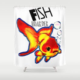 Fish Hoarder Goldfish Shower Curtain