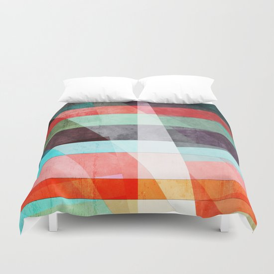 Colorful Grunge Stripes Abstract Duvet Cover