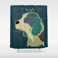 beagle Shower Curtains featuring the beagle by bri.buckley