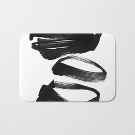 Black and White Abstract Shapes Ink Painting Bath Mat