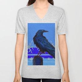 BLUE CROW WINTER SNOWFLAKE ART Unisex V-Neck