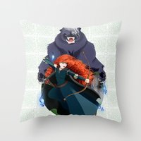 merida Throw Pillows featuring Merida by Karrashi