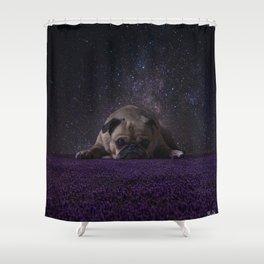 Flower Field Pug Shower Curtain