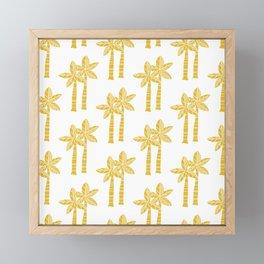 Palm Tree Pattern Mustard Yellow 3 Framed Mini Art Print