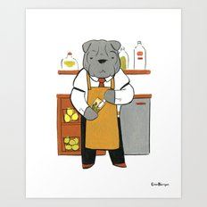 Sharpei Mixologist (Dogs with Jobs series) Art Print
