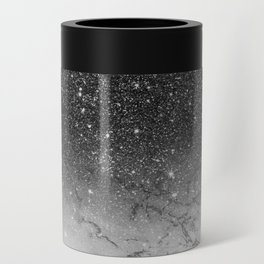 Stylish faux black glitter ombre white marble pattern Can Cooler