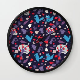 The swedish wolfs and the great apple storm - Fabric pattern Wall Clock