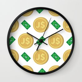Jamaica's Jamaican dollar J$ code JMD banknote and coin pattern wallpaper Wall Clock