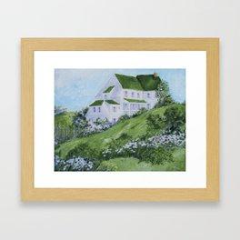 Home on a hillside Framed Art Print