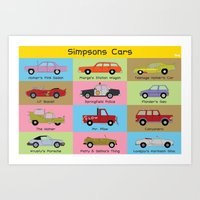 simpsons Art Prints featuring Simpsons Cars by SIME Design