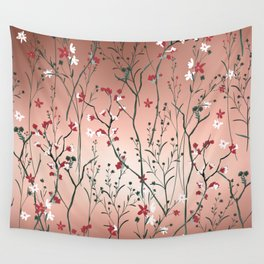 Floral, Rose Gold Sky Wall Tapestry