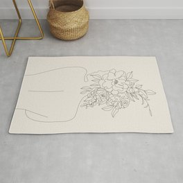 Woman with Flowers Minimal Line I Rug