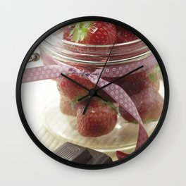 Strawberries with chili in jar and sweet chocolate Wall Clock