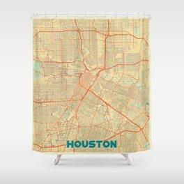 Houston Map Retro Shower Curtain
