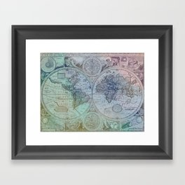 Map of the Colorful World Framed Art Print