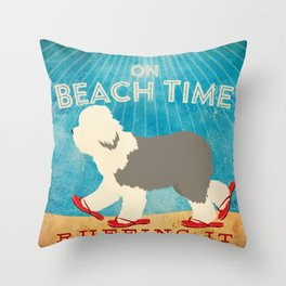 Beach Time Sheepdog by Stephen Fowler Throw Pillow