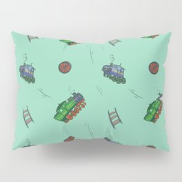 Happy Train Pattern with green background Pillow Sham