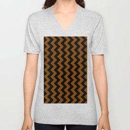 Black and Chocolate Brown Vertical Zigzags Unisex V-Neck