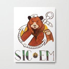 Sailor Bear Redux - Baylor University Metal Print