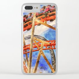 Fun on the roller coaster, close up Clear iPhone Case