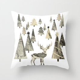 Winter Woods, collage Throw Pillow