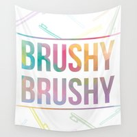 bathroom Wall Tapestries featuring BATHROOM SERIES - Brushy Brushy! by Noonday Design