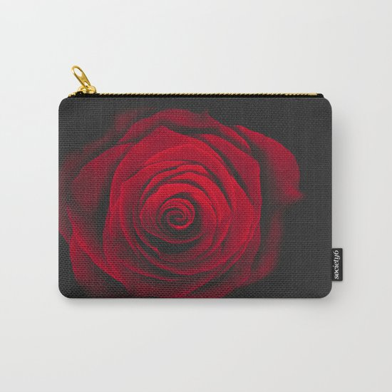 Red rose on black background vintage effect Carry-All Pouch
