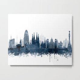 Barcelona City Skyline Blue Watercolor by zouzounioart Metal Print
