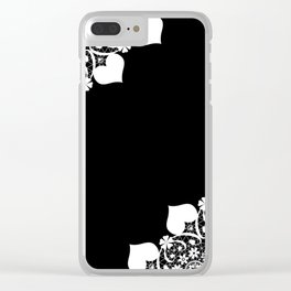 Retro . White lace on a black background . Clear iPhone Case