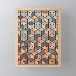 Concrete and Copper Cubes Framed Mini Art Print