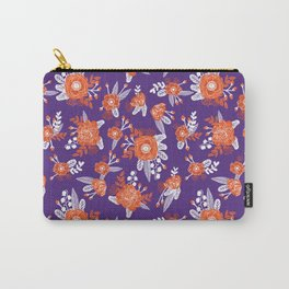 University football fan alumni clemson orange and purple floral flowers gifts Carry-All Pouch