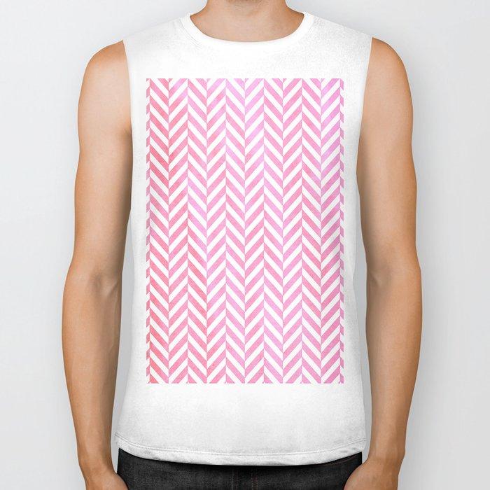 Watercolor Herringbone Chevron pattern - pink on white Biker Tank