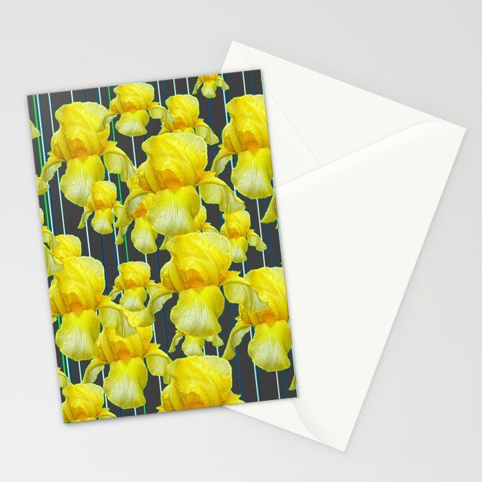 CHARCOAL GREY YELLOW IRIS GARDEN ABSTRACT Stationery Cards