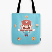 super mario Tote Bags featuring Super Mario by Richard Howard