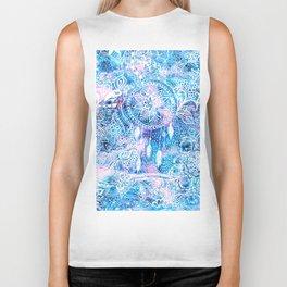 Mermaid blue turquoise watercolor boho dreamcatcher floral pattern Biker Tank