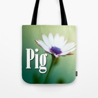 pig Tote Bags featuring Pig by Wanker & Wanker