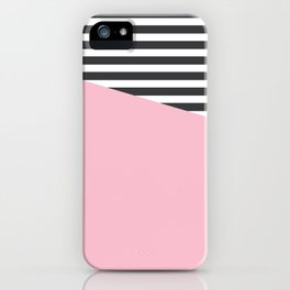 Pink & Gray Stripes iPhone Case