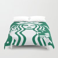starbucks Duvet Covers featuring Selfie - 'Starbucks ICONS' by Alejo Malia