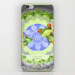 Trippy Texture Tree Frog Boho Mandala iPhone Skin